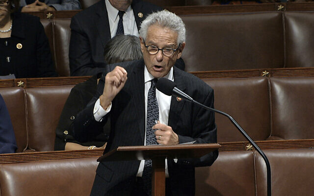 Rep. Alan Lowenthal, Democrat of California, speaks as the House of Representatives debates the articles of impeachment against US President Donald Trump at the Capitol in Washington, December 18, 2019. (House Television via AP)