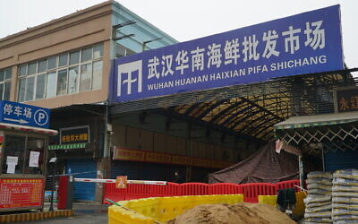 The Wuhan Huanan Wholesale Seafood Market, where the coronavirus is believed to have initially spread, seen January 21, 2020.  (AP Photo/Dake Kang)