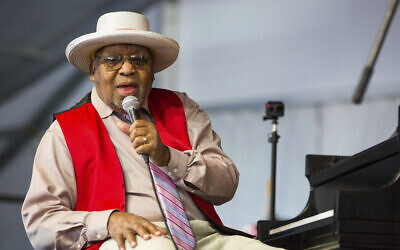 This April 28, 2019, file photo, shows Ellis Marsalis during the New Orleans Jazz & Heritage Festival in New Orleans. New Orleans Mayor LaToya Cantrell announced April 1, 2020, that Marsalis has died. He was 85. (AP Photo/Sophia Germer, File)