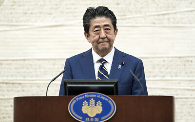 Japan's Prime Minister Shinzo Abe speaks during a press conference at the prime minister's official residence, April 7, 2020, in Tokyo. (Tomohiro Ohsumi/Pool Photo via AP)