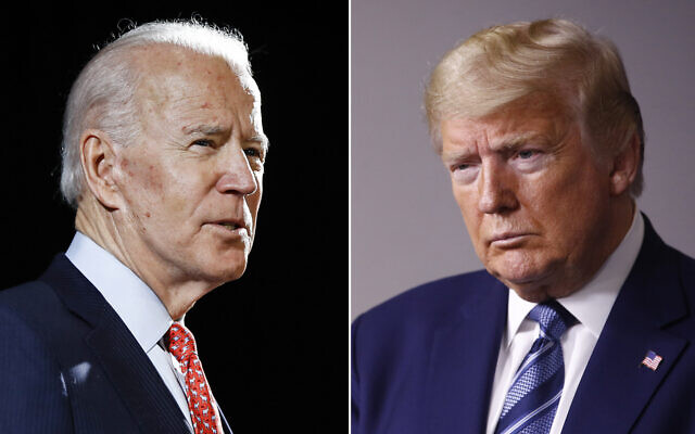 In this combination of file photos, former Vice President Joe Biden speaks in Wilmington, Del., on March 12, 2020, left, and President Donald Trump speaks at the White House in Washington on April 5, 2020 (AP Photo)