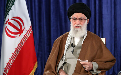 Iran's Supreme Leader Ayatollah Ali Khamenei addresses the nation in a televised speech, April 9, 2020. (Office of the Iranian Supreme Leader via AP)