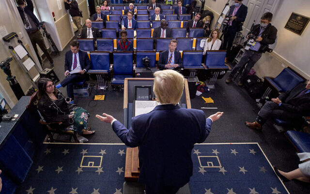 President Donald Trump speaks about the coronavirus in the James Brady Press Briefing Room of the White House, Thursday, April 9, 2020, in Washington. (AP/Andrew Harnik)