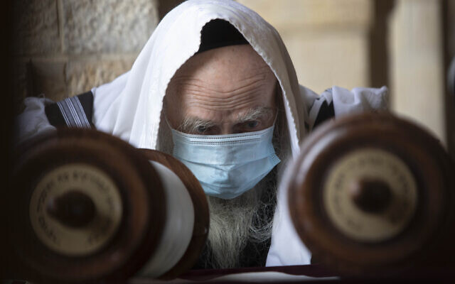 A Jewish man wears a face mask to curb the spread of the coronavirus as he reads from a Torah scroll at the Western Wall in the Jerusalem Old City, April 10, 2020. (AP Photo/Sebastian Scheiner)