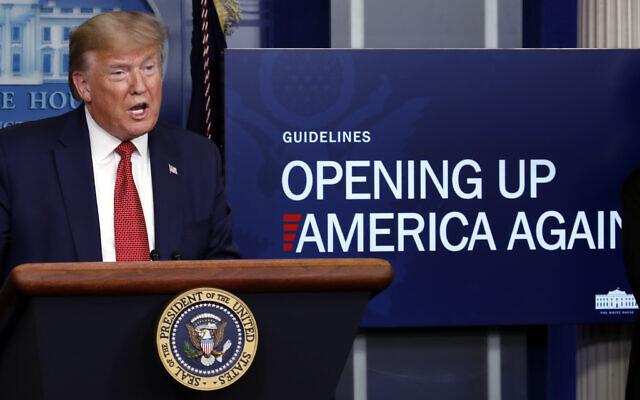 President Donald Trump speaks about the coronavirus in the James Brady Press Briefing Room of the White House, Thursday, April 16, 2020, in Washington. (AP/Alex Brandon)
