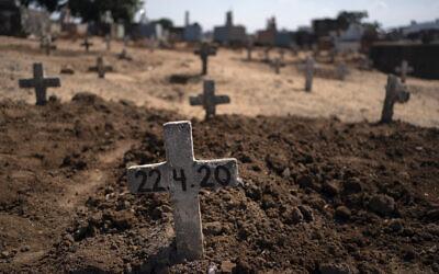 Fresh graves of suspected COVID-19 victims in Rio de Janeiro, Brazil, April 22, 2020. (AP/Leo Correa)