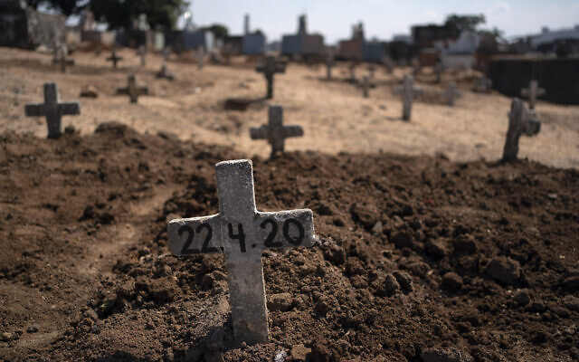 Fresh graves of suspected COVID-19 victims in Rio de Janeiro, Brazil, April 22, 2020. (AP/Leo Correa)