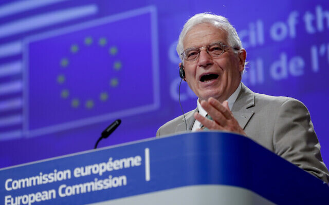 European Union foreign policy chief Josep Borrell addresses a video press conference at the conclusion of a video conference of EU foreign affairs ministers in Brussels, April 22, 2020. (Olivier Hoslet, Pool Photo via AP)