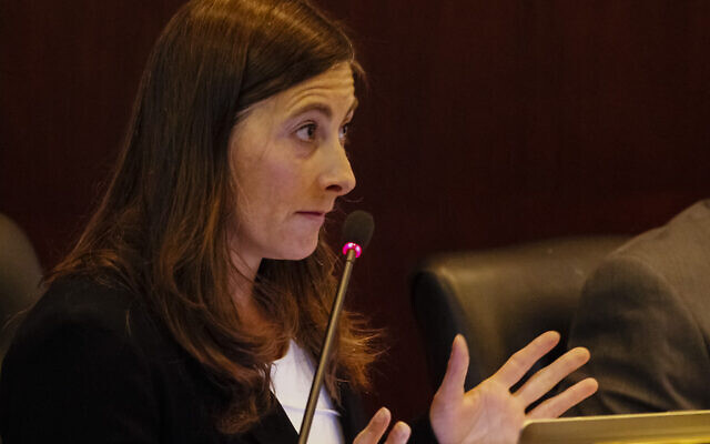 Rep. Heather Scott asks a question a joint session of the Senate Judiciary and Rules and the House Judiciary, Rules, and Administration committees during a special session of the Idaho legislature at the state Capitol building on May 18, 2015 in Boise, Idaho. (AP Photo/Otto Kitsinger)