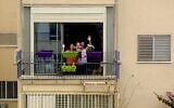 Abi Hartuv and family wave to their neighbor. March 2020 (courtesy)