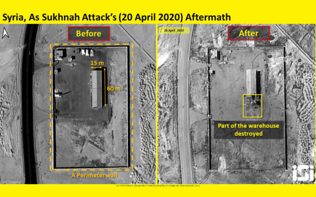 Satellite images purporting to show damage to a military base outside Palmyra, Syria, in April 20 airstrikes attributed to Israel, which were released by ImageSat International, on April 30, 2020. (ImageSat International)