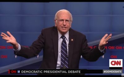 "Comedian Larry David playing Democratic presidential candidate Bernie Sanders on ""Saturday Night Live,"" Oct. 17, 2015 (JTA)"