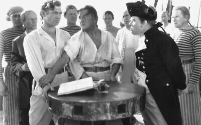 Crew members of the HMS Bounty, including Clark Gable (left) as Fletcher Christian and Charles Laughton (right) as Captain Bligh, in the 1935 film version of Charles Nordhoff and James Norman Hall's Mutiny on the Bounty. (MGM)