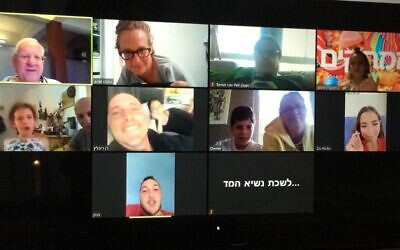 President Reuven Rivlin meets family members over Zoom as Israelis are under a national lockdown as they celebrate the last day of Passover on April 14, 2020 (Twitter)