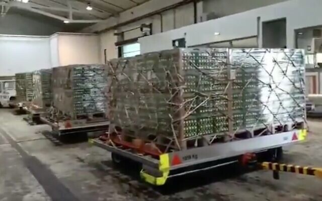 Screen capture from video of eggs on pallets ahead of their airlift to Israel, April 6, 2020. (Twitter)