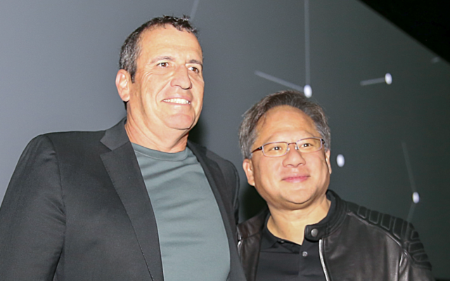 Eyal Waldman, founder and CEO of Mellanox, left, and Jensen Huang, founder and CEO of US gaming and computer graphics giant Nvidia (Nvidia)
