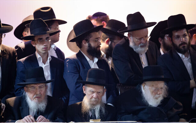 Rabbi Chaim Kanievsky (front R) and Rabbi Gershon Edelstein (Front C) attend a rally of the UTJ party to support the candidacy of Moshe Lion ahead of the Jerusalem municipal elections, on October 25, 2018. (Aharon Krohn/Flash90)