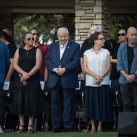 President Reuven Rivlin (C) flanked by his children during the funeral of his wife, Nehama Rivlin at Mount Herzl cemetery on June 5, 2019.(Hadas Parush/Flash90)