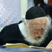 Rabbi Chaim Kanievsky seen at his home in the city of Bnei Brak on his 92nd birthday, January 11, 2019. (Shlomi Cohen/Flash90)