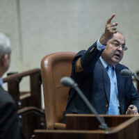 Illustrative: Joint List party member Ahmad Tibi speaks during a Knesset plenary session on February 17, 2020. (Yonatan Sindel/Flash90)