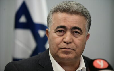 Chairman of the Labor party Amir Peretz seen during a press conference in Tel Aviv on March 12, 2020. (Tomer Neuberg/Flash90)