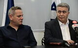 Labor Party leader Amir Peretz (R) and Meretz leader Nitzan Horowitz at a press conference in Tel Aviv on March 12, 2020. (Tomer Neuberg/Flash90)