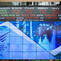 A stock market ticker in the lobby of the Tel Aviv Stock Exchange, March 15, 2020. (Flash90)