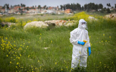 A Magen David Adom worker wears protective gear in a field of mustard while collecting test swabs in the northern Israeli city of Safed on March 31, 2020. (David Cohen/Flash90)