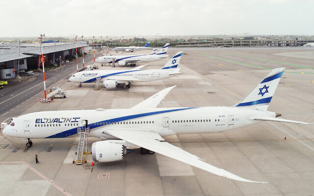 Grounded El Al planes at Ben Gurion Airport on April 6, 2020, amid the coronavirus pandemic. (Moshe Shai/Flash90)