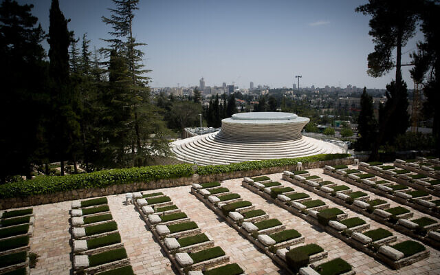 View of Mount Herzl military cemetery and the National Memorial Hall on Mount Herzl in Jerusalem on April 20, 2020. (Yonatan Sindel/Flash90)