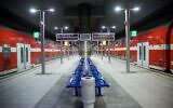 View of the empty Yitzhak Navon train station in Jerusalem, due to the government restrictions following the spread of the coronavirus, April 23, 2020. (Yonatan Sindel/Flash90)