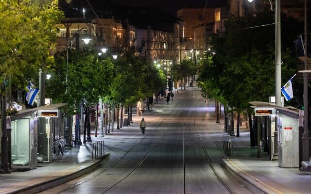 View of the empty Jaffa Road in Jerusalem, as Israel celebrates its 72th Independence Day under lockdown, April 28, 2020. (Yonatan Sindel/Flash90)