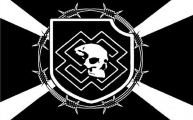 A flag used by the Feuerkrieg Division, a neo-Nazi group in the Baltics. (ADL)