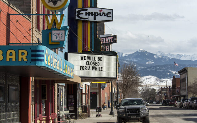 Livingston, Montana, seen here on March 30, 2020, was still under a stay-at-home order when anti-Semitic flyers were discovered in the town. (William Campbell-Corbis via Getty Images via JTA)