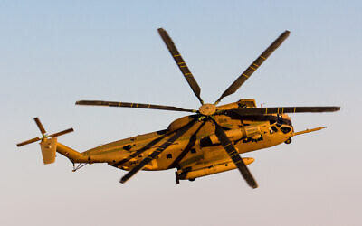 An Israeli Yasur heavy transport helicopter flies over Hatzerim air base in southern Israel on June 24, 2015. (Oren Rozen/Wikimedia/CC BY-SA 3.0)