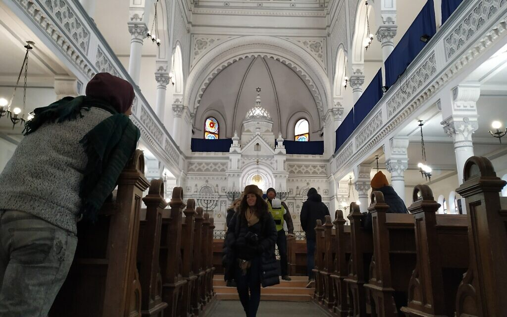 Some synagogues are already preparing for the possibility that they could be empty during the High Holidays. Pictured: a synagogue in Brasov, Romania, December 2019. (Yaakov Schwartz/ Times of Israel)