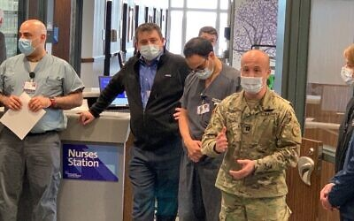 US Congressman Max Rose, in military fatigues, deployed with the National Guard to build convert an unused psychiatric facility into the nation's first state-run, COVID-19-only emergency hospital, April 2020. (Courtesy of Rose)