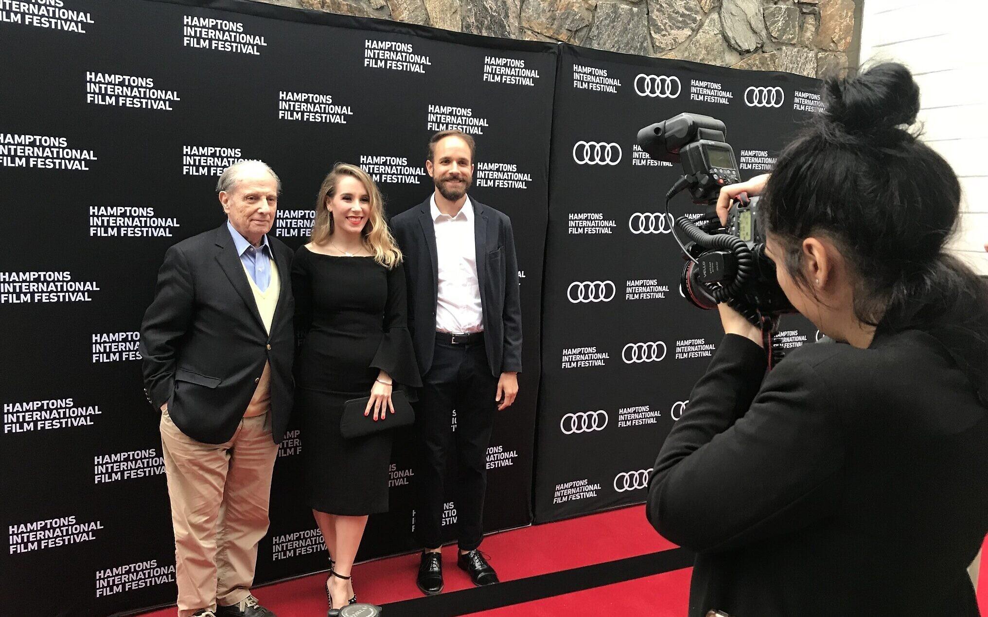 Henri Dauman, Nicole Suerez, and Peter Kenneth Jones at the 2018 premiere of 'Henri Dauman: Looking Up' at the Hamptons International Film Festival. (Courtesy)