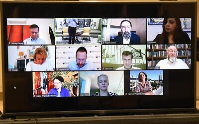 Screen capture from a video-conference call between President Reuven Rivlin and Jewish community leaders from around the world, April 5, 2020. (Mark Neyman/GPO)