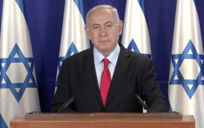 Prime Minister Benjamin Netanyahu addresses Israelis, April 13, 2020. (Screenshot)