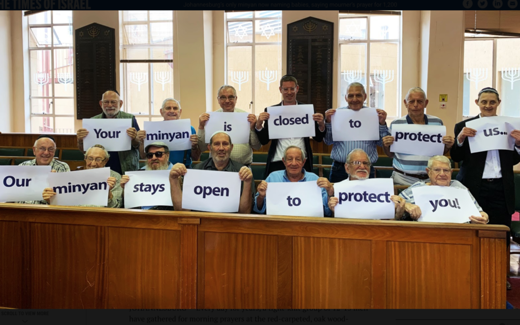 The members of the Sandringham Gardens minyan, in a picture taken before social distancing protocols became stringent. (Chevrah Kadisha staff photographer)