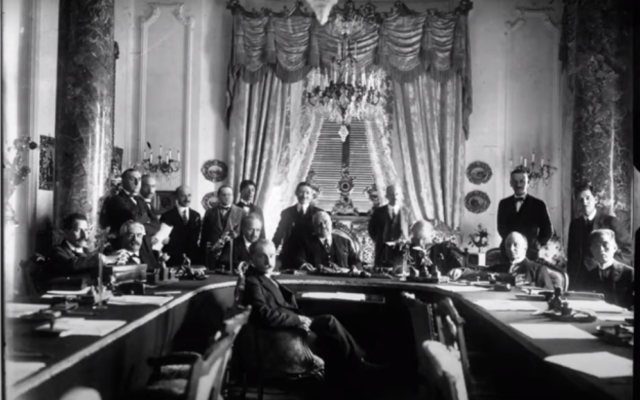 Delegates at the San Remo Conference in April 1920 (screenshot YouTube)
