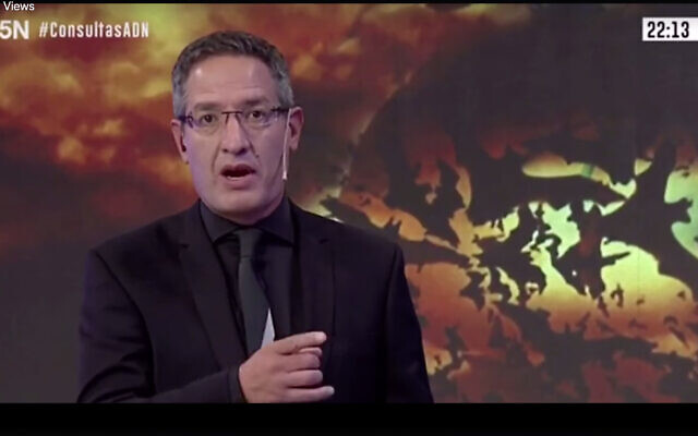 Screen capture from video of Argentine journalist Tomás Ariel Méndez on ADN Tv. (JTA)