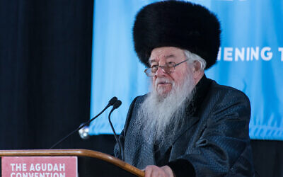 Rabbi Yaakov Perlow speaks at Agudath Israel of America's 2019 convention in Stamford, Conn. (Courtesy/Agudath Israel via JTA)