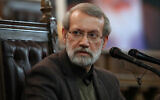 Iranian Parliament Speaker Ali Larijani gives a press conference in Tehran, Iran, December 1, 2019 (AP/Vahid Salemi, File)