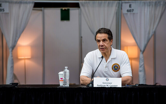 New York Gov. Andrew Cuomo briefs the media inside a nearly completed makeshift hospital at the Jacob Javits Convention Center in New Yor, March 27, 2020. (Darren McGee/Office of Governor Andrew M. Cuomo via AP)