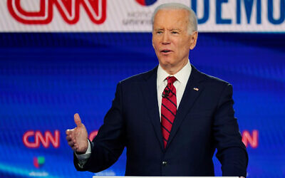 Former vice president Joe Biden speaks during a Democratic presidential primary debate at CNN Studios in Washington, DC, March 15, 2020. (AP/Evan Vucci)