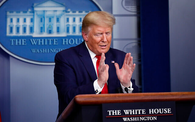 US President Donald Trump speaks about the coronavirus at the White House, April 3, 2020, in Washington. (AP/Alex Brandon)