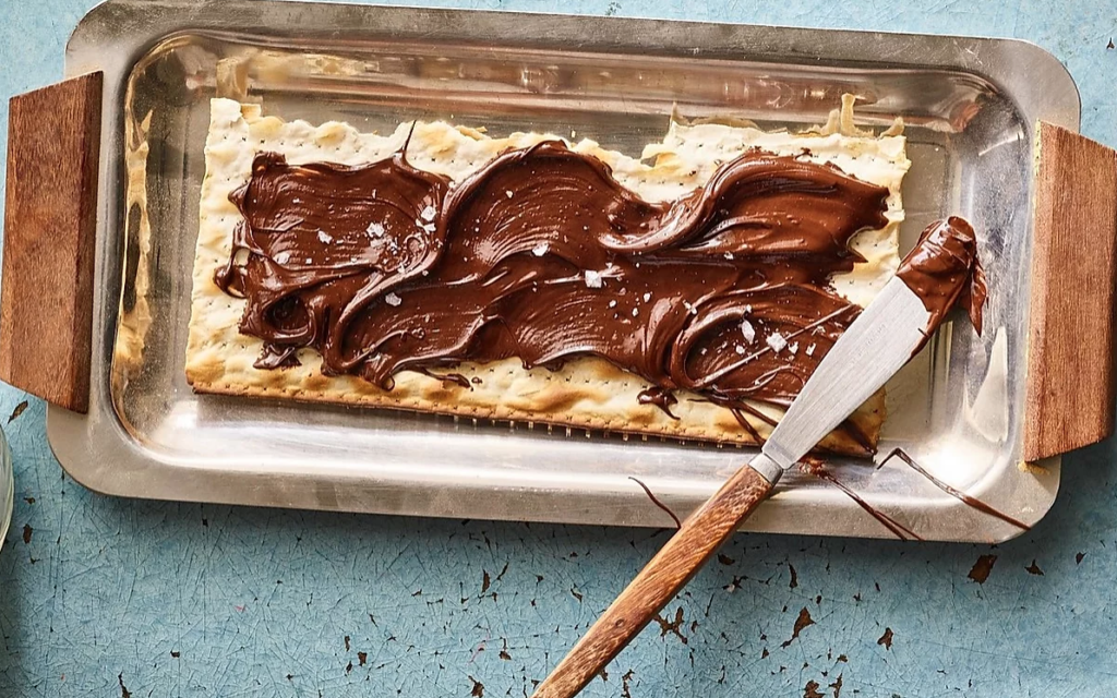 Adeena Sussman's Olive Oil Chocolate Spread on matzah, from the 'Sababa' cookbook (Courtesy Adeena Sussman)