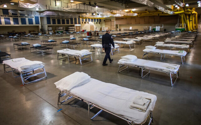 A temporary hospital in Indio, California, March 29, 2020. (Apu Gomes/AFP)